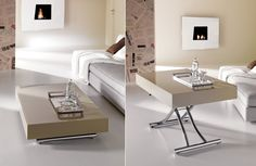 Minimalist coffee table with a covertible design