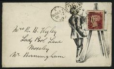 Hand Illustrated and Later Printed Envelopes: 1860 (Dec. 12th) printed envelope, the illustration of an artist with the stamp being his picture on an easel