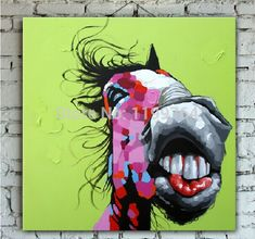 Hand Painted Creative Beauty Horse Animal Oil Painting on Canvas Modern Abstract Decoration for Living Room or Baby Room