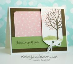 Jan 2015 Stamp of the Month Club: Stampin' Up! Sheltering Tree spring card #stampinup #occasions www.juliedavison.com