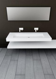 SOHO MURAL - Vasque suspendue / rectangulaire / en solid surface / contemporaine by HIDROBOX by absara Soho, Bathroom Lighting, Tiles, Bathtub, Vanity, Layout, Solid Surface, Mirror, Inspiration