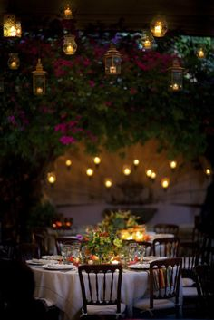 Below, another enchanted evening reception comes to life with magical lighting in a similar outdoor garden setting.