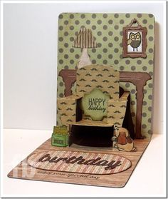 Frances Byrne's awesome male Birthday Card. Pop 'n Cuts A2 Base, Chair insert and Foyer Textured Impressions set. Love it! Sizzix-PopNCutChair3-wm
