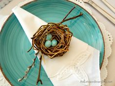 Who would guess this bird's nest themed Easter table was set with dollar store plates and goblets? It's a beautiful table for any special spring meal.