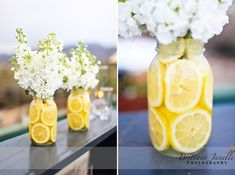 Lemonade stand party decorations come to life with a tutorial for an easy lemonade stand and pretty party buntings-- Free printable lemonade stand tags. Lemon Centerpieces, Mason Jar Centerpieces, Wedding Centerpieces, Mason Jars, Wedding Decorations, Centerpiece Ideas, Simple Centerpieces, Table Decorations, Picnic Centerpieces