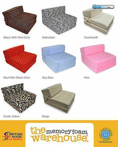 Amazing Foam Fold Out Chair Guest Bed   Choice Of Colours   Ideal For Kids Bedrooms.