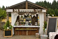 I like the bunting and the idea of chalkboards for displays