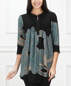 Look at this Black & Blue Cloud Notch Neck Tunic on #zulily today!