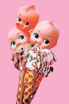 "Ice Cream Kewpie Print-(Etsy store is described as ""cute, kitschy fine art prints & big eye dolls"" YES PLEASE) Melanie Martinez, Pics Art, Big Eyes, Food Art, Eye Candy, Vibrant Colors, Illustration Art, Childhood, Artsy"