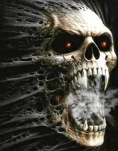 20 Skull Artwork Collection – Artmene – creative a Evil Skull Tattoo, Skull Tattoo Design, Skull Tattoos, Art Tattoos, Wolf Tattoos, Animal Tattoos, Sleeve Tattoos, Tattoo Designs, Dark Fantasy Art