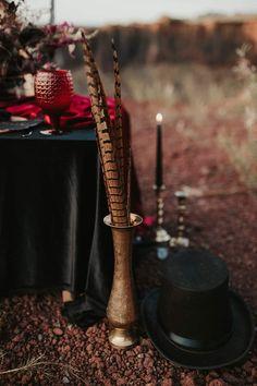 Red glasses, black candles, vintage candlesticks, black hat, pheasant feathers decoration, vintage gold vade Pheasant Feathers, Black Candles, Candlesticks, Incense, Hat, Glasses, Decoration, Gold, Vintage