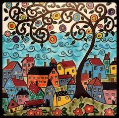 15 x 15 cm Cute Paintings, Watercolor Paintings, Tree Of Life Art, Art Life, House Illustration, Naive Art, Hand Painted Ceramics, Fantastic Art, Beauty Art