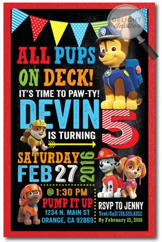 Chase Paw Patrol Birthday Invitations