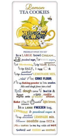 Tea cookie recipes, on a charming kitchen flour sack dish towel. Explore our huge collection with something for every decor and holiday. Old Recipes, Lemon Recipes, Vintage Recipes, Cookie Recipes, Indian Recipes, Dish Towels, Tea Towels, Lemon Tea Cookies Recipe, Food Illustrations