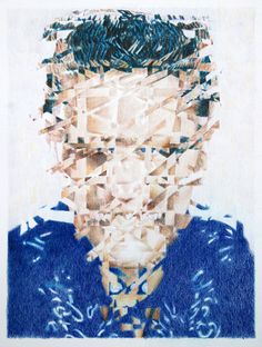 Get the students to abstract a famous portrait photo using diagonal and square cutting techniques and reassemble as collage then colour photocopy, grid-up and get students to reproduce as a  coloured pencil drawing - yr 11