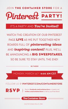 Join The Container Store for a Pinterest Party! March 25, 2013 - 9 AM (CST)