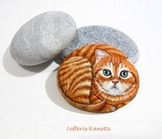 Orange Kitty Hand Painted Stone   Is Painted with by KanetisStones