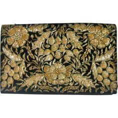 Zardozi Bullion Embroidered Evening Bag Purse Floral Vintage India