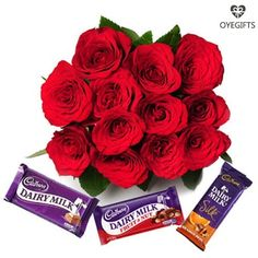 Close to my Heart - Surprise someone who is very close to your heart with this beautiful bunch of sweetness and love from OyeGifts . Order this combo of wonderful bouquet and chocolates online now. This combo has a bouquet of 12 red roses tied with a ribbon and 3 delicious Cadbury chocolates- one Cadbury Dairy Milk of 38 gm, one Cadbury Fruit & Nut of 42gm, and a Cadbury Silk of 65gm. So, order this product now for your special one.