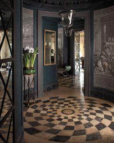 Unique Foyer Design: A rotunda with 18th-century trompe l'oeil wallpaper panels.  - ELLE DECOR