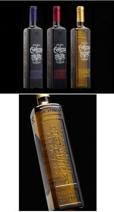 California Square, designed for wine company Truett Hurst. Besides their functionality, the square bottles are also wonderfully designed with vintage typography and glass embossing, while retro graphics and screen printed label hark back to old spirits bottles