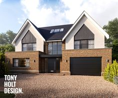 Tony Holt Design : Self Build Design for Modern New Build House House Cladding, House Siding, House With Porch, House Front, Dream Home Design, Modern House Design, Home Building Design, Building A House, Green Building