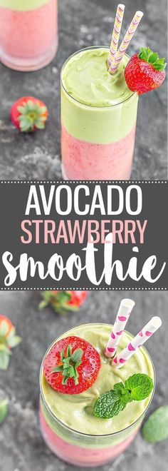 A creamy, refreshing, and delicious Avocado Strawberry Layered Smoothie. Great for breakfast, as a pre-workout snack, or even as a dessert! via /easyasapplepie/