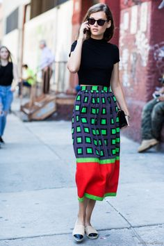 colorful, graphic skirt 7 Fall Street Style Trends | A Cup of Jo