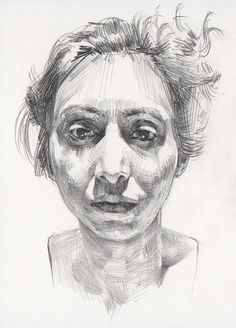 """Anita"" - Mike Creighton, graphite on paper {contemporary art female head asymmetrical woman face portrait drawing}"
