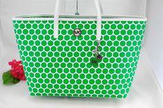 MICHAEL KORS KiKi White Palm Green Polka Dot Purse Shoulder Shopper Tote Bag NEW #MichaelKors #TotesShoppers