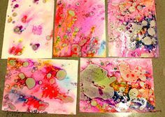 "Marbled paper with cooking oil & food colouring - from Juggling With Kids ("",)"