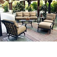 Soleil 6-pc Deep Seating Collection Includes: 2 Action Club Chairs, Sofa, Ottoman, Coffee Table and End Table, Sunbrella® Fabric . $8599.98