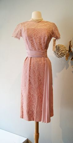 Vintage 1950s  Lace Cocktail Dress in Rose Dust by xtabayvintage, $248.00