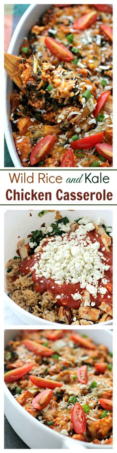 Wild Rice and Kale Chicken Casserole | www.diethood.com | Hearty and delicious casserole made with chicken, wild rice, kale and a good dose of cheese.