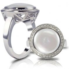 Hoff Jewelers :: Sterling silver and freshwater coin pearl ring featuring genuine diamond accent. #hoffjewelers