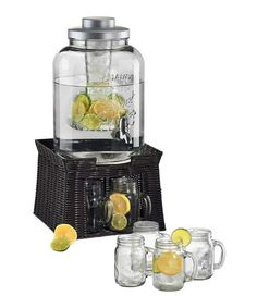 Loving this Oasis Beverage Dispenser, Chiller, Infuser & Mason Jar Mug Set on #zulily! #zulilyfinds