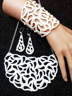 Items similar to White set Leather set Wedding Wide bracelet White stones Long earrings White necklace with stones Artificial pearl Lace Leather Gift on Etsy Leather Diy Crafts, Leather Gifts, Leather Bags Handmade, Leather Craft, White Necklace, Leather Necklace, Leather Jewelry, Stencil Painting On Walls, Laser Cut Jewelry