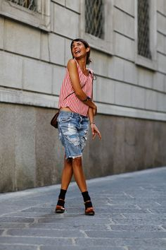 Michela Meni showing us that joy transcends all, even stripes and shoes with socks (although that is cool too) Love her vibe. #alltheprettybirds.