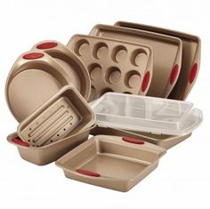 Rachael Ray Cucina Nonstick Bakeware 10-Piece Set, Latte Brown with Cranberry…