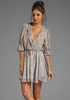 ANINE BING Print Dress in Charcoal from REVOLVEclothing.com on Wanelo