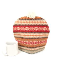 Wool tea cosy Fair isle knit Winter cabin chalet decor Woodland kitchen Upcycled…