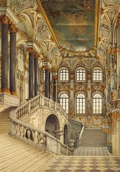 Interiors of the Winter Palace. The Jordan Staircase by Konstantin Andreyevich Ukhtomsky - Architecture, Interiors Drawings from Hermitage Museum Baroque Architecture, Beautiful Architecture, Beautiful Buildings, Beautiful Places, Architecture Interiors, Landscape Architecture, Double Staircase, Grand Staircase, Staircase Design