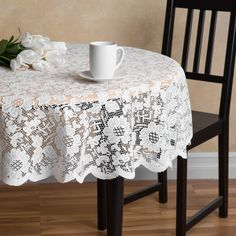 60 in. Round Floral Lace Overlay Ivory