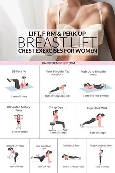 This exercise routine will perk up your breasts easily at home. No equipment needed for this home workout which will transform your body and give you a natural breast lift. Get rid of back fat and try these chest exercises for women to give your bust li Fitness Workouts, Gym Workout Tips, At Home Workout Plan, Fitness Routines, Workout Videos, Home Exercise Routines, Home Chest Workout, Lifting Workouts, Dancer Body Workouts