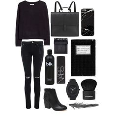 """Blk Knit"" by ncavien on Polyvore"