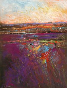Pastel Artists International: March Sunset, abstract landscape by Carol Engles