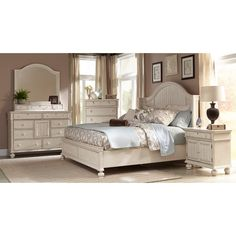 Laguna Antique White Panel Bed 6-piece Bedroom Set - Overstock Shopping - Big Discounts on Bedroom Sets