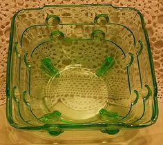 Art Deco Stolzle rare square bowl in bubble pattern. Made in 1930s probably in Hermanova hut factory. £ 30. @ http://maxartdeco.binary-synergy.com/