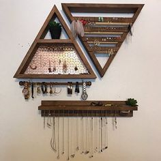 Mandye Canales added a photo of their purchase diy jewelry holder Jewelry Organizer - Wall hanging jewelry shelf display and mirror