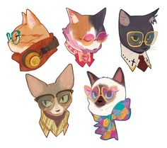 """""""i like cats, i like glasses. so why not put them together (probably gonna sell this stickers in AN"""" Cute Animal Drawings, Animal Sketches, Character Illustration, Illustration Art, Types Of Art Styles, Cat Character, Figure Sketching, Creature Concept, Character Design Inspiration"""